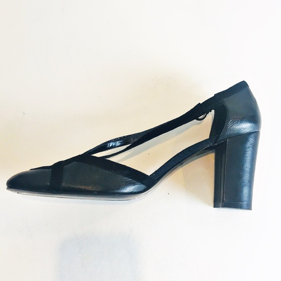 Enzo Angiolini Shoes - Enzo Angiolini Black Leather Suede Heel 10M